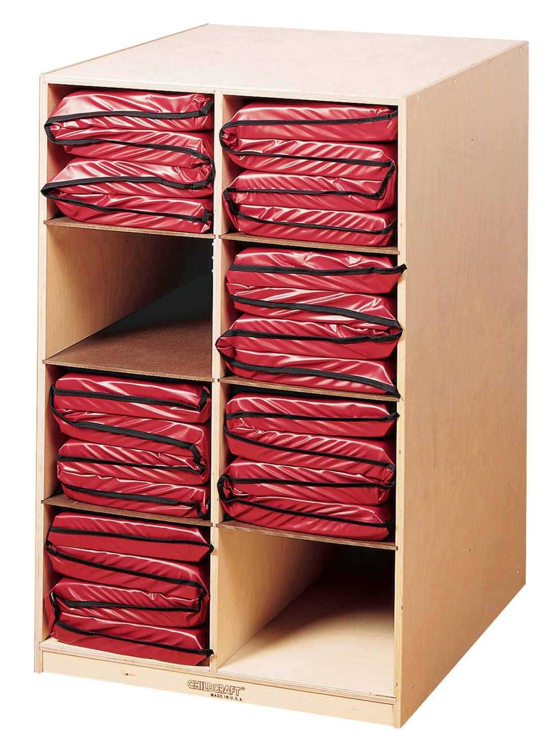 Childcraft 271831 Mobile Rest Mat Storage Center, 25-7/8'' x 24-1/8'' x 40'', Natural Wood Tone