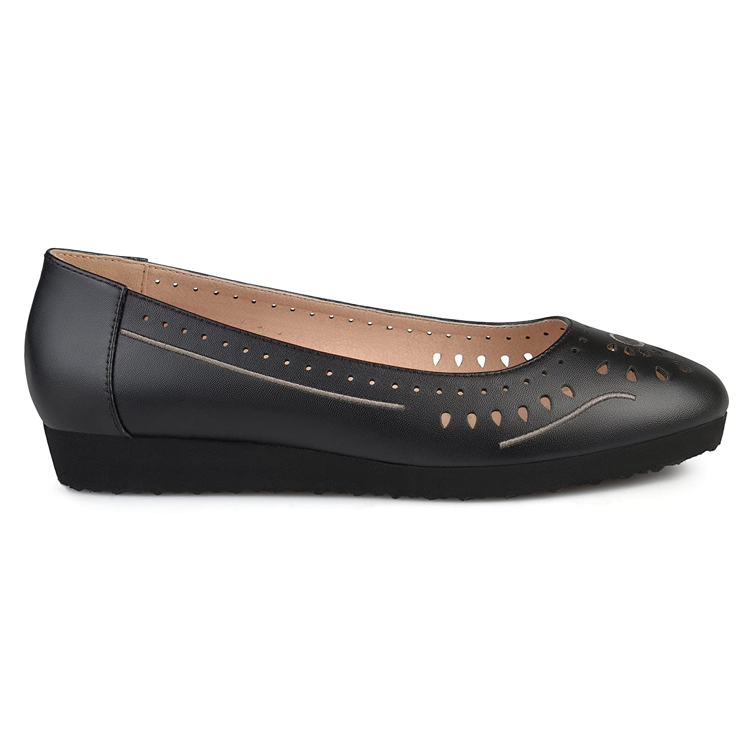 Brinley Co Womens Cyra Faux Leather Laser-Cut Comfort-Sole Embroidered Lightweight Flats B07572YV9S 9 B(M) US|Black