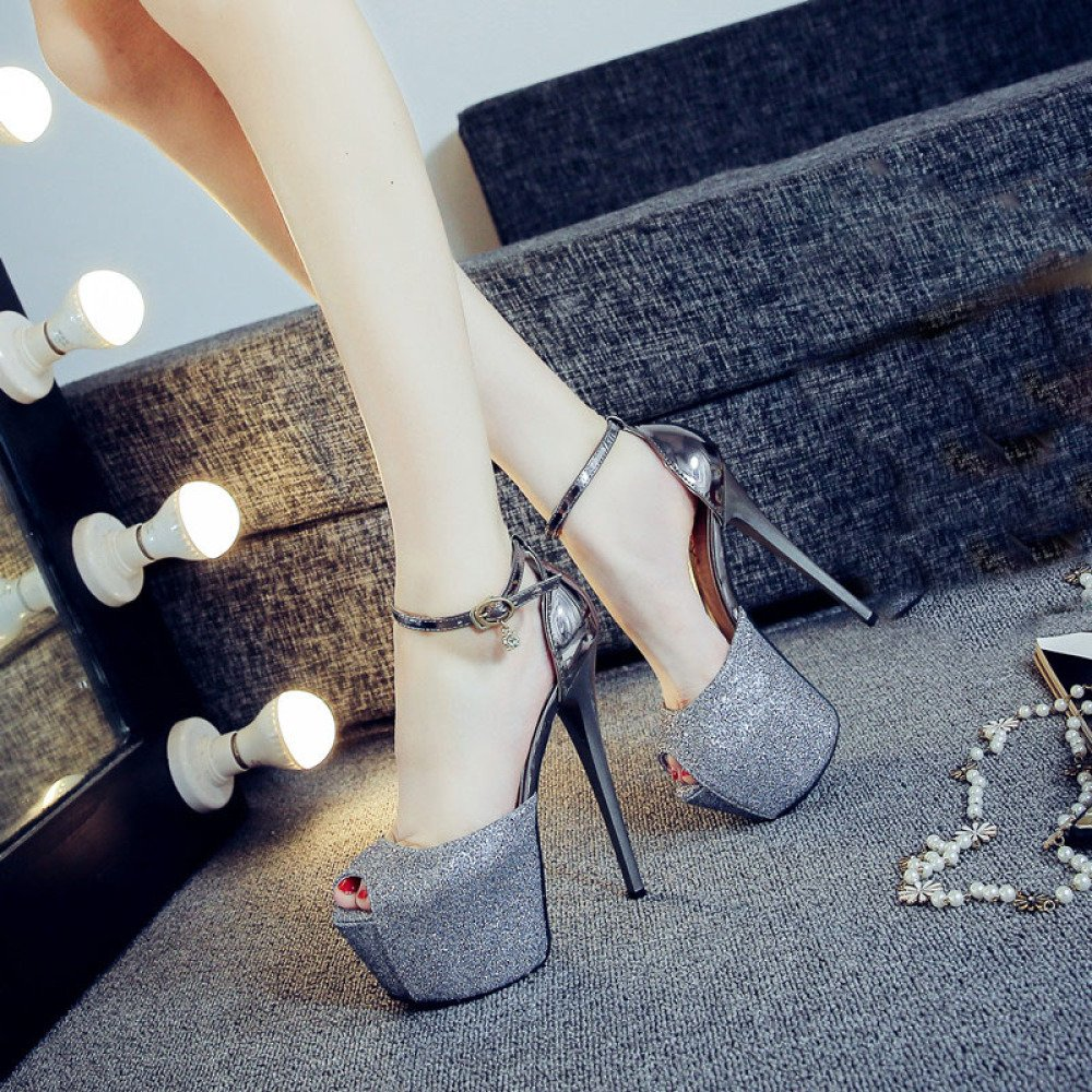 DYY High-heeled shoes sexy nightclub female fish mouth waterproof platform word buckle sandals,Gun color,34