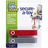 Baby Buddy Secure-A-Toy, Safety Strap Secures Toys, Teether, or Pacifiers to Strollers, Highchairs, Car Seats-Adjustable Length to Keep Toys Sanitary Clean Red-Silver 2 Count