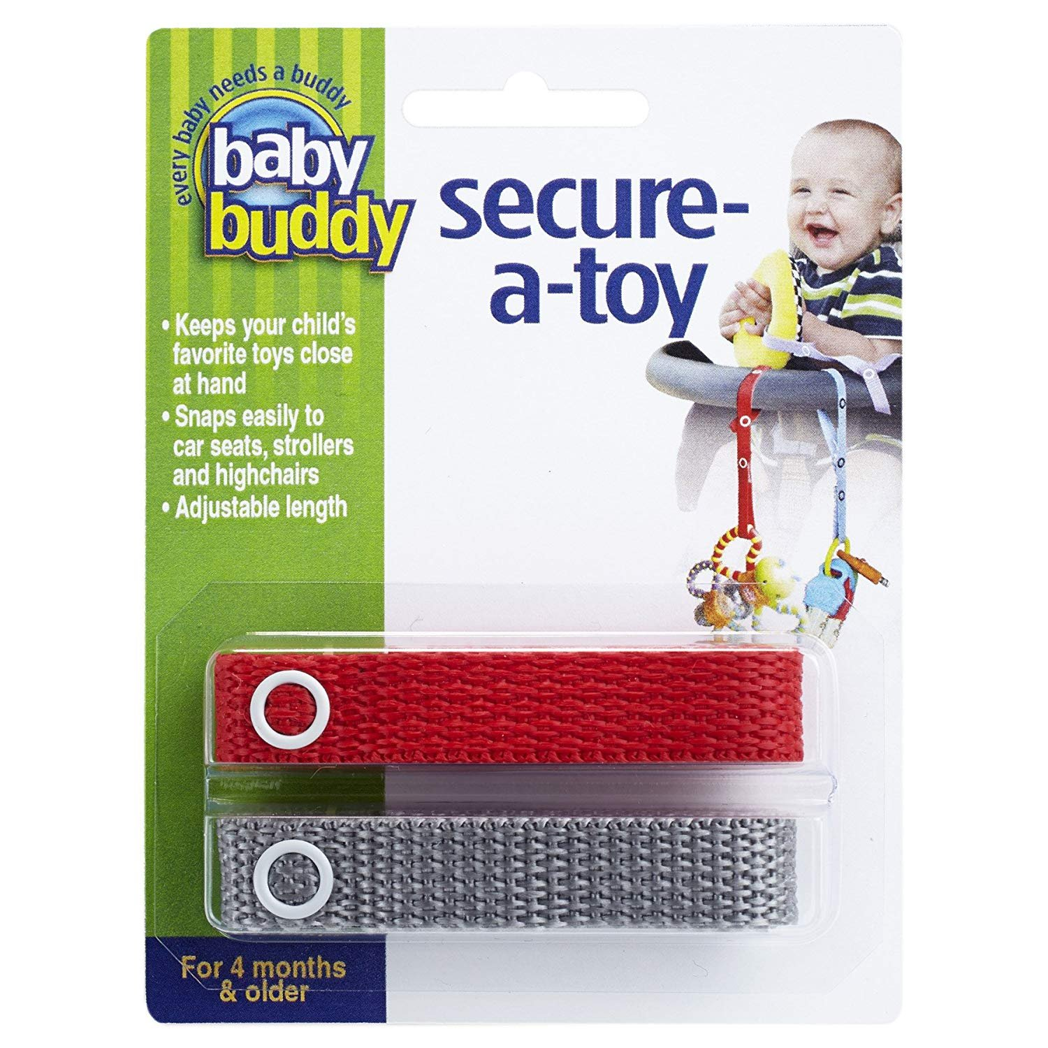 Baby Buddy 2-Count Secure-A-Toy, Tan/Olive, 2-Pack Compac Industries 00147TnOv-24