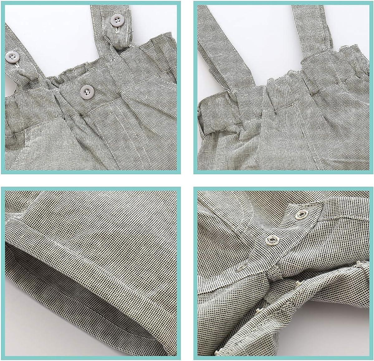 Formale Kids Party Outfit Set Abbigliamento da Uomo 0-24 M LEHOUR Neonati 2 Pezzi Tute da Battesimo Bowtie T-Shirt Top Bretelle Cinghia