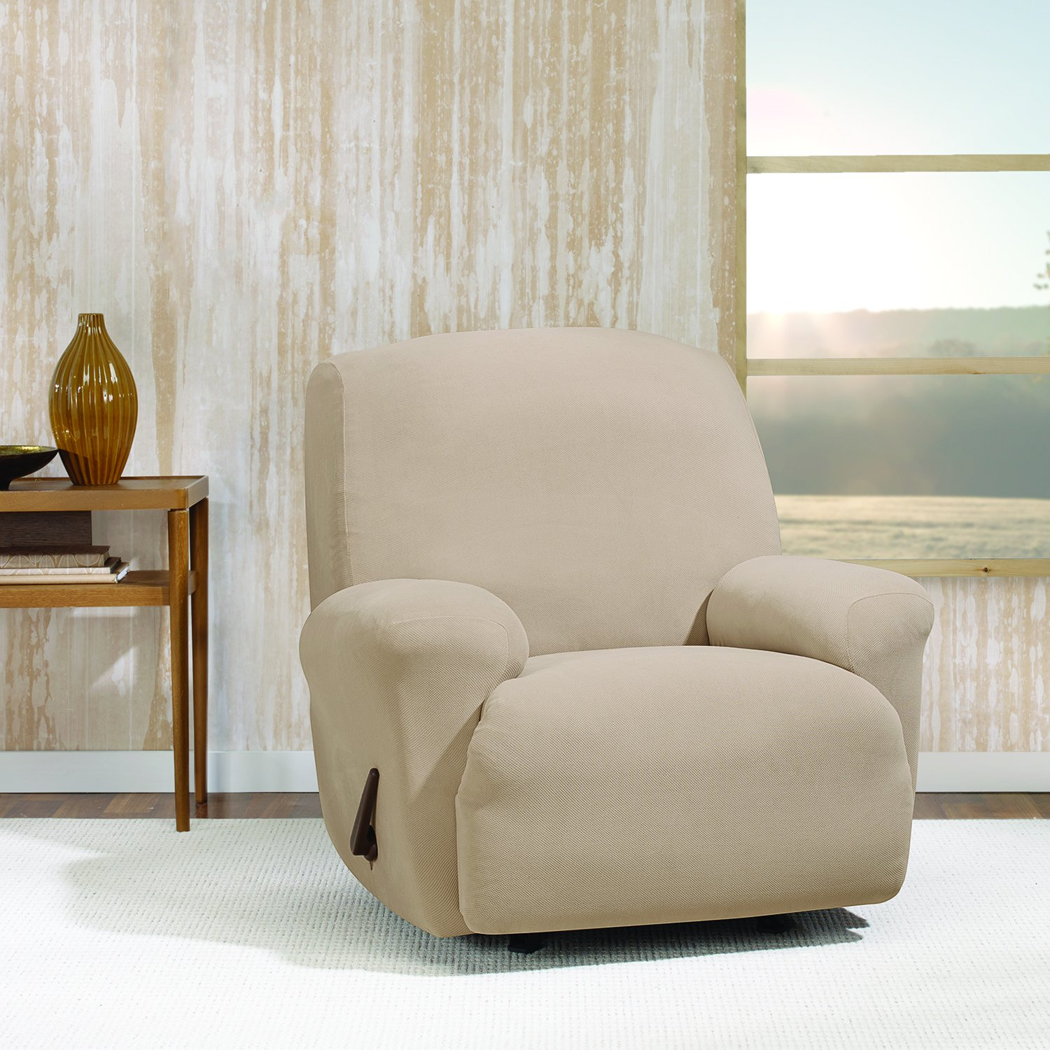 Sure Fit Stretch Morgan One Piece Recliner Furniture Cover Chocolate