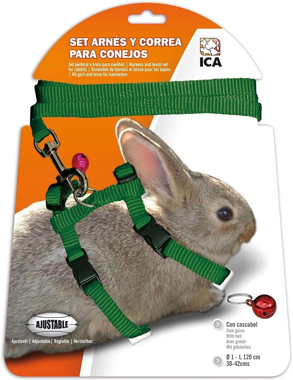 ICA DA1026 Set de Arnés y Correa para Conejos, Verde