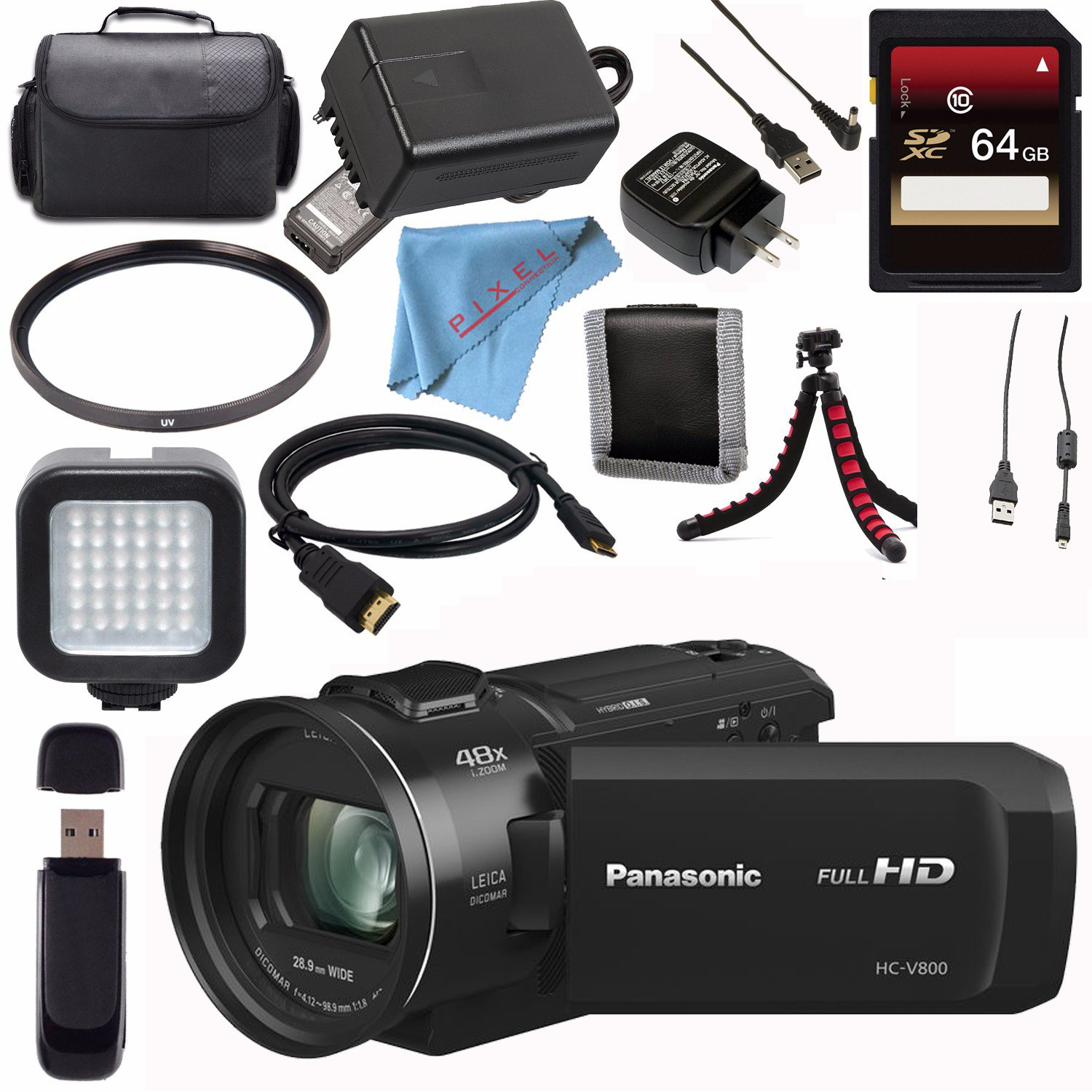 Panasonic HC-V800 HC-V800K Full HD Camcorder + 64GB SDXC Card + 62mm UV Filter + Carrying Case + Flexible Tripod + Micro HDMI Cable + LED Light Bundle by Panasonic