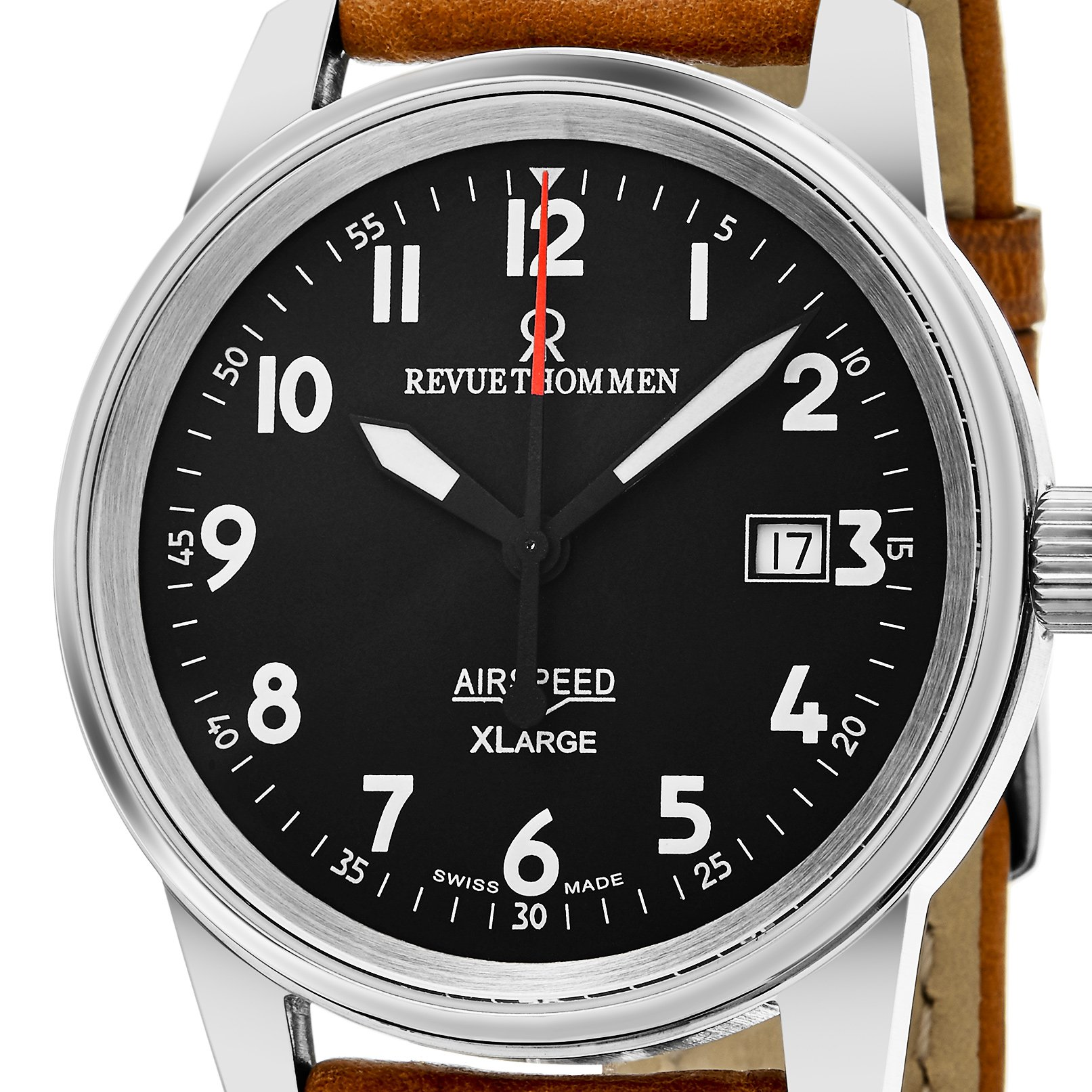 Revue Thommen 'Air Speed XL' Black Dial Brown Leather Strap Swiss Mechanical Watch 16052.2537 by Revue Thommen (Image #2)