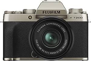 Fujifilm X-T200 Mirrorless Digital Camera w/XC15-45mm Kit - Champagne Gold