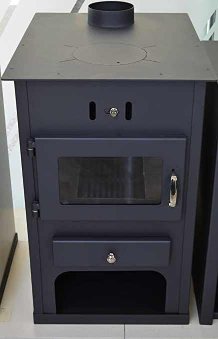 Estufa de leña con caldera integral, chimenea de combustible sólido para sistema de calefacción central