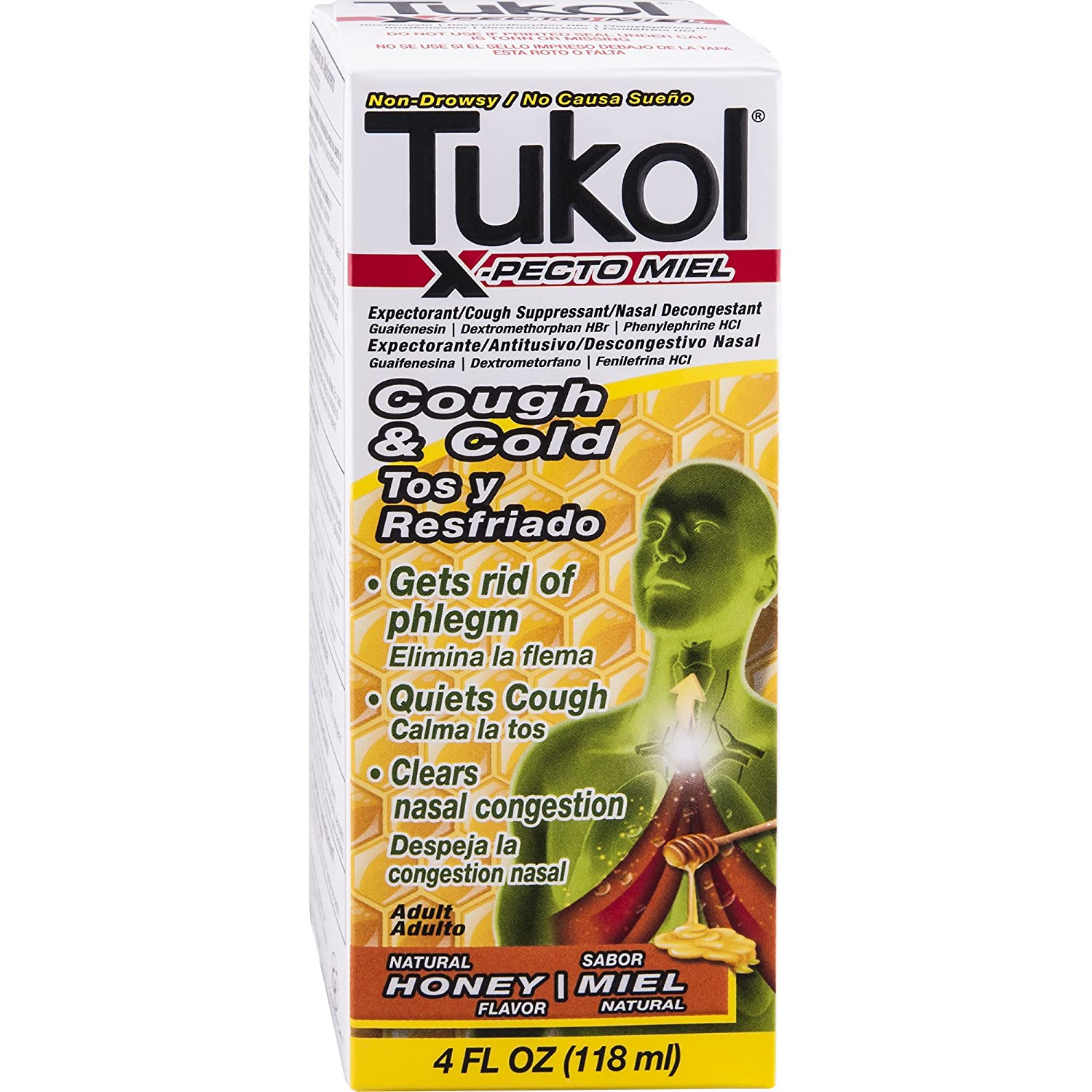Amazon.com: TUKOL Adult X-Pecto Miel Honey Cold Syrup, 4 oz.: Health & Personal Care