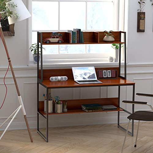 Goujxcy 47 inch Computer Desk with Bookshelf, Office Writing Desk with Desktop Display Shelves Bottom Storage Shelves,Workstation Desk with Hutch for Home Office Small Space