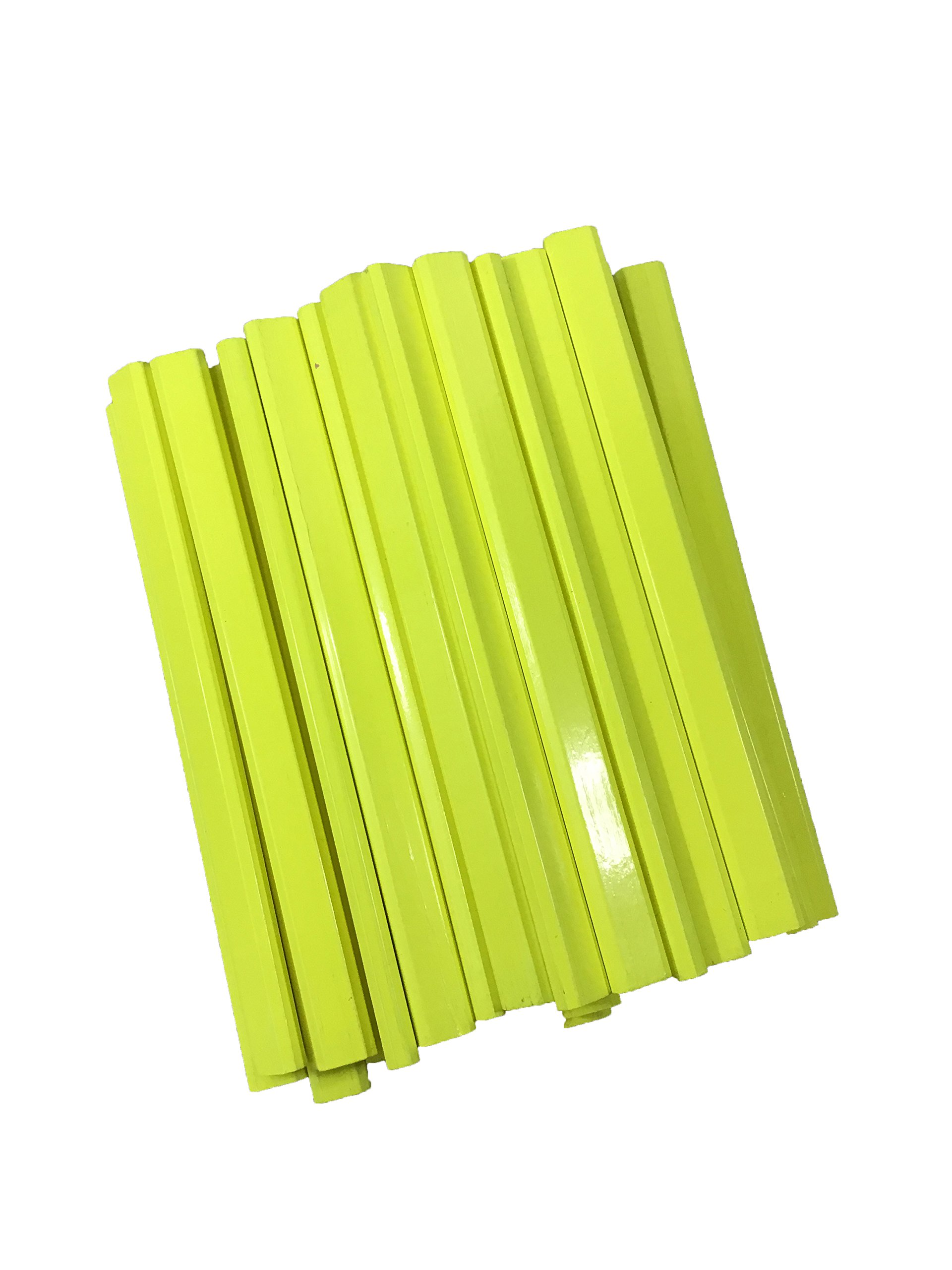 Flat Wooden Neon Yellow Carpenter Pencils - 72 Count Bulk Box Made In The USA by Rockvale Retail Carpenter Pencils (Image #3)