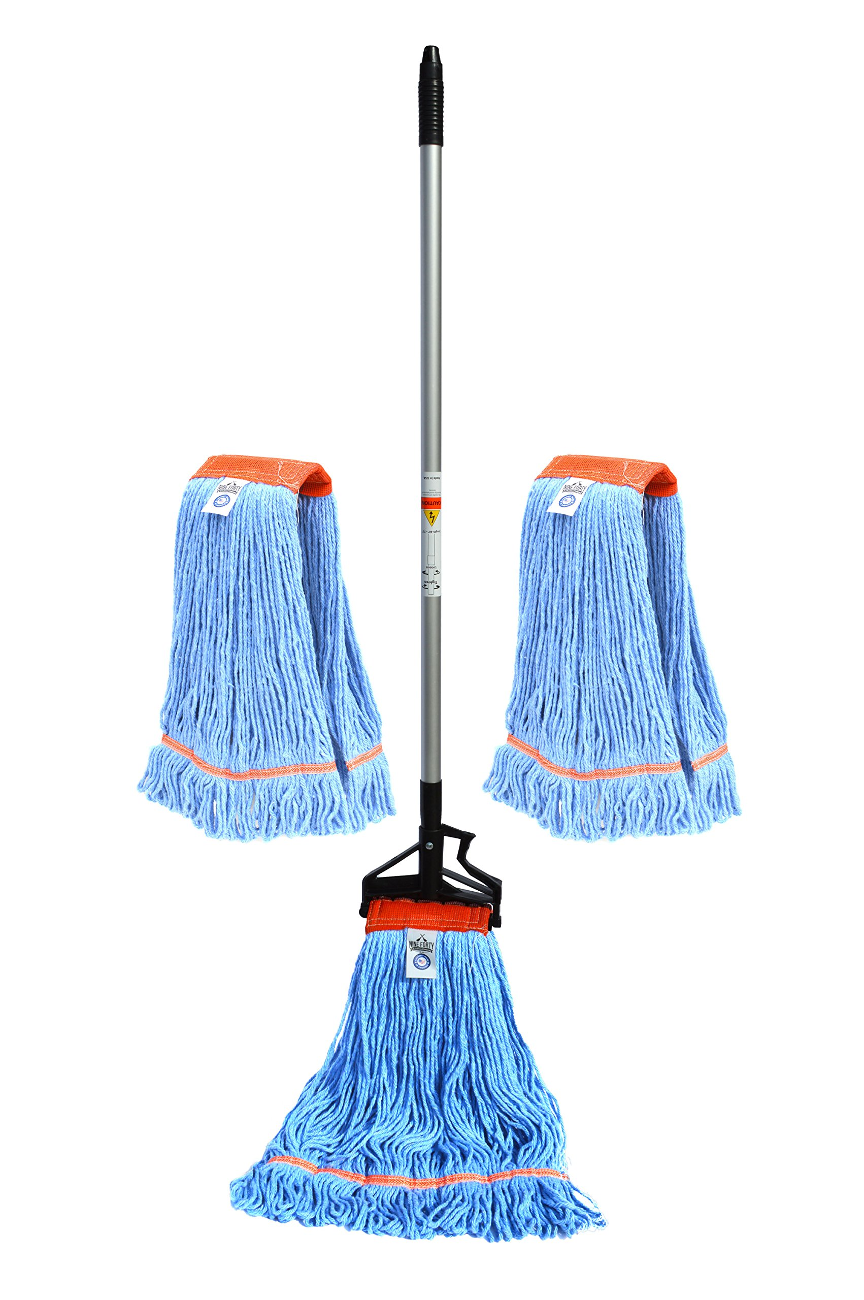 Nine Forty USA Wet Mop Head Floor Cleaning Set | Handle | 2 Replacement Commercial Mopping Heads by Nine Forty