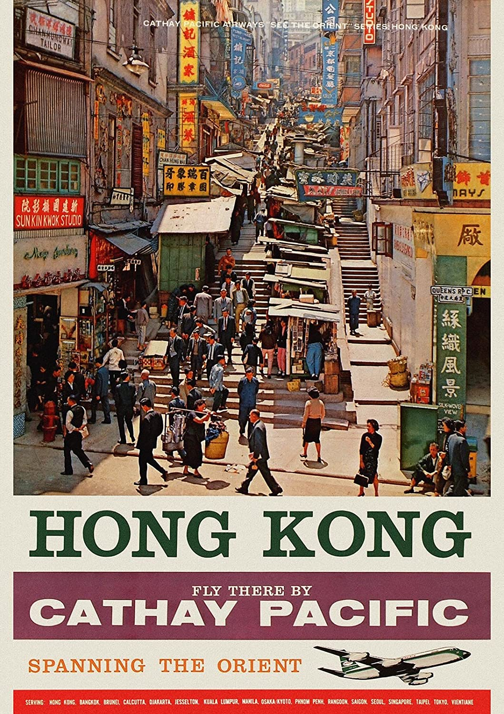 Amazon.de: Cathay Pacific busy street Hong Kong Retro-Poster, Reise ...