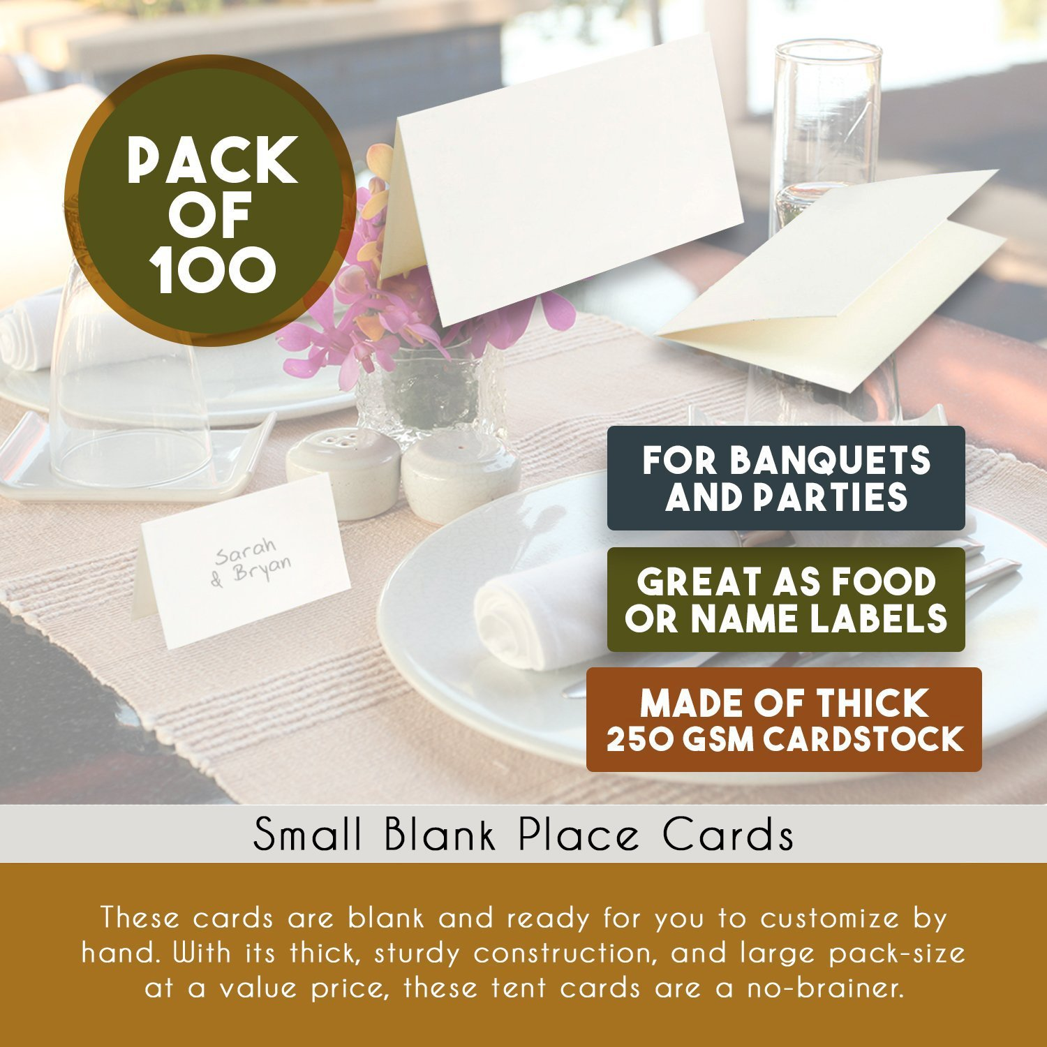 Amazoncom Best Paper Greetings Pack Of Place Cards Small - Large table tent cards