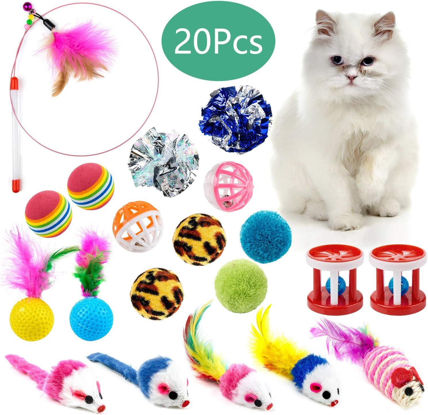 WolinTek 20 Piezas Juguetes para Gatos, Juguete Interactivo con ...