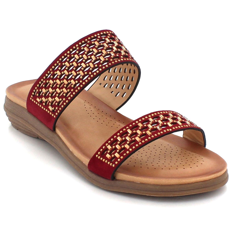 Frau Damen Diamant Offener Zeh Sommer Abend Beiläufig Komfort Leicht Flache Sandalen Schuhe Größe Kastanienbraun