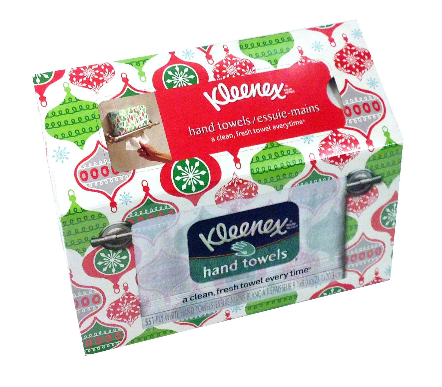 Kleenex White Disposable Hand Towels, Holiday Themed Box, 1 Box (Designs May Vary)