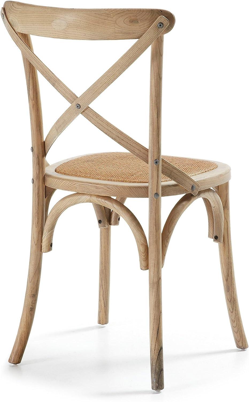 Kave Home Sedia Alsie con seduta in rattan e struttura in