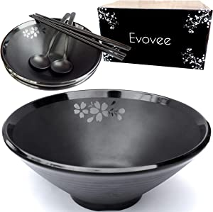 Evovee Japanese Ramen Bowls and Spoons Set 60 oz Extra Large Asian Noodle Bowls Melamine Ramen Bowls and Chopsticks and Spoons Set of 2 Japanese Bowls Pho Bowl Ramen Bowl Set Black 9 inch