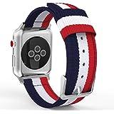 Apple Watch バンド - ATiC Apple Watch 42mm series 3/2/1用 編みナイロン製腕時計ストラップ/バンド/交換ベルト+バンドアダプター/交換ラグ Blue+White+Red (38mmに対応ない)