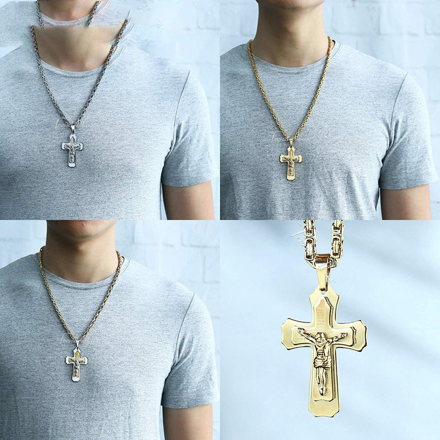 Zimzalabim-offical-store Jesus Cross Pendant Necklace for Men Gold Silver Stainless Steel Byzantine Box Chain Necklace Men Jewelry Gift