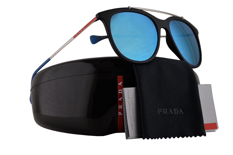 4d93dea2b8 Amazon.com  Prada PS02TS Sunglasses Black Rubber w Blue Gradient Mirror  Lens 54mm DG05M2 SPS02T PS 02TS SPS 02T  Sports   Outdoors