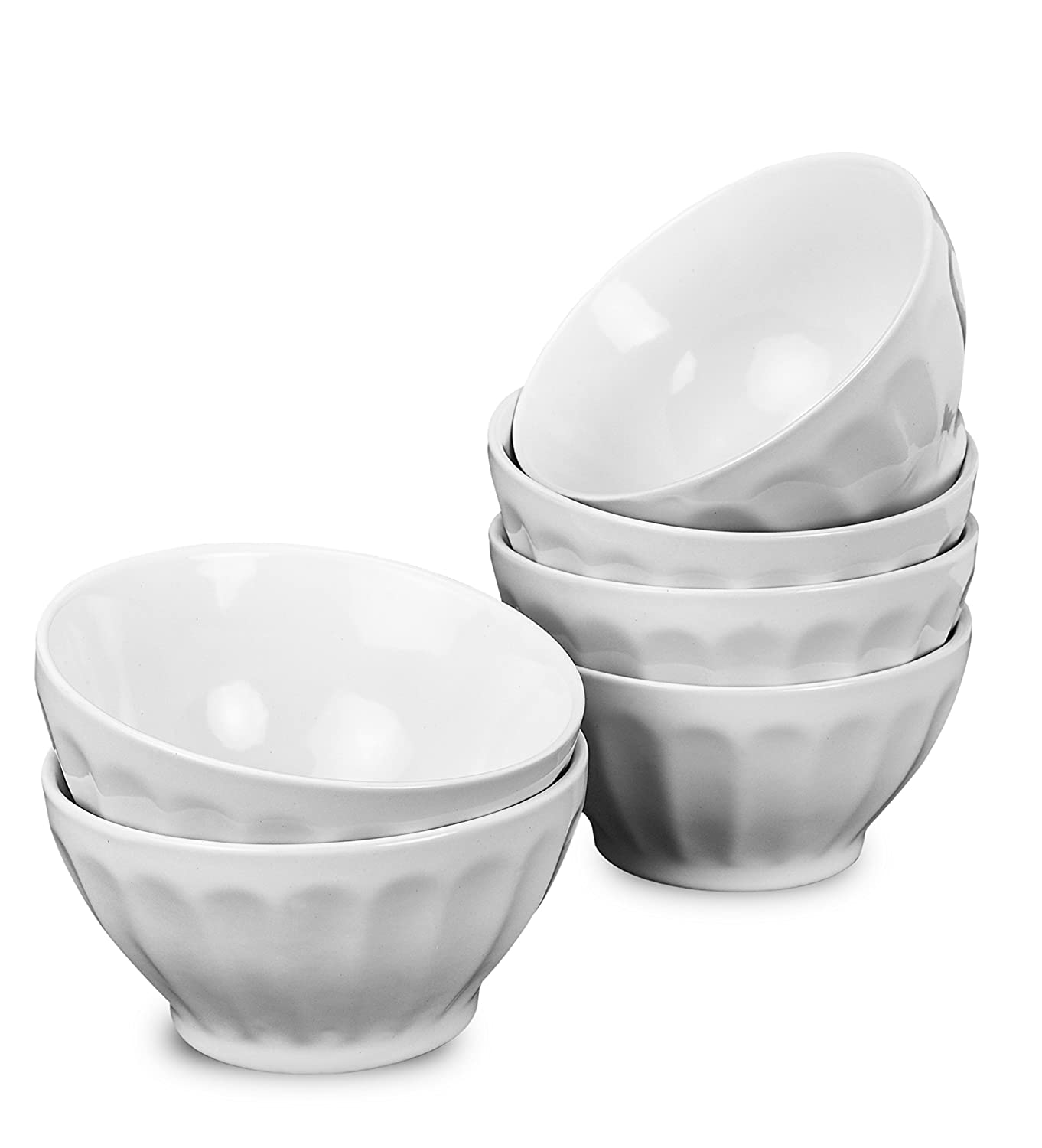 Klikel 6 Pack 18oz White Fluted Soup Bowls | Dishwasher And Microwave Safe Porcelain Dinnerware Set | Large Bowl For Noodle Pasta Cereal Salad | 18oz - 5.5 Round