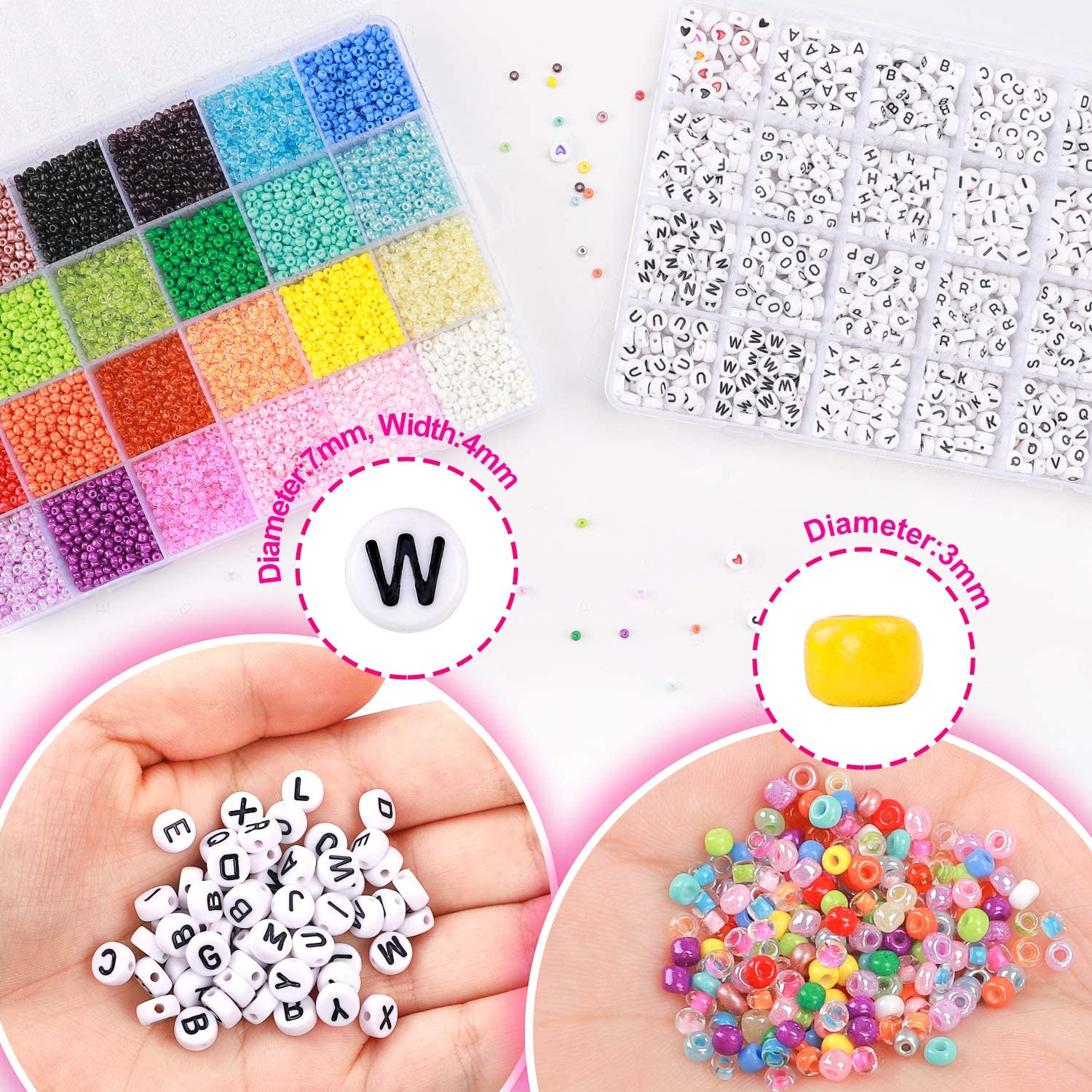 DICOBD Beads Kit 15600pcs 3mm Glass Seed Beads and 1200pcs Letter Beads with 2 Rolls of Cord for Bracelets Necklaces and Key Chains Making