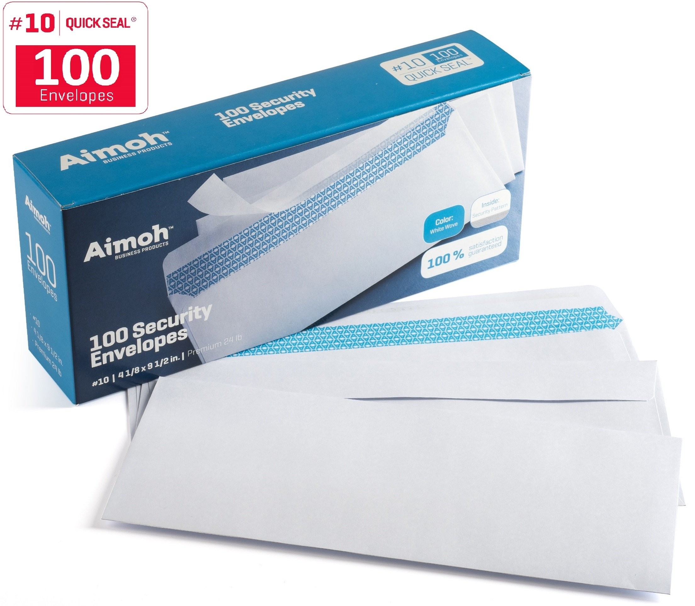 100 #10 Security SELF SEAL Envelopes - No Window, Premium Security Tint, Ideal for Home Office Secure Mailing, QUICK-SEAL Closure - 4-1/8 x 9-1/2 Inches - White - 24 LB - 100 Per Box (34100)