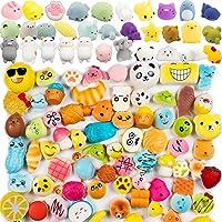 WATINC 60pcs Squishy Toys, Including 30 Pcs Random Cream Scented Kawaii Simulation Squishy Toy Medium Mini Soft Squishy & Random 30 Pcs Cute Animal Kawaii Mini Soft Squeeze Toy