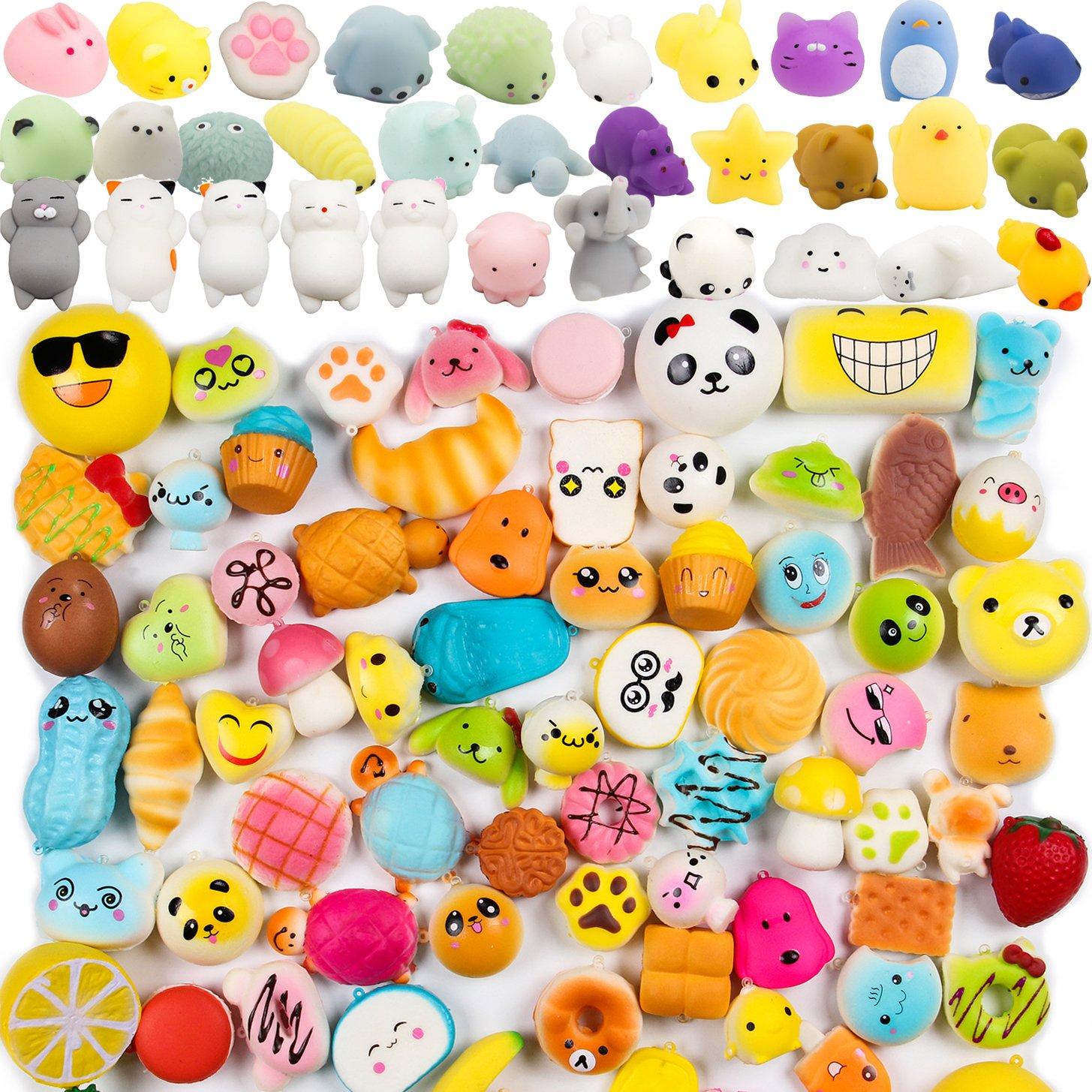 WATINC 60pcs Squishy Toys, Including 30 Pcs Random Cream Scented Slow Rising Kawaii Simulation Squishy Toy Medium Mini Soft Squishies & Random 30 Pcs Cute Animal Kawaii Mini Soft Squeeze Toy