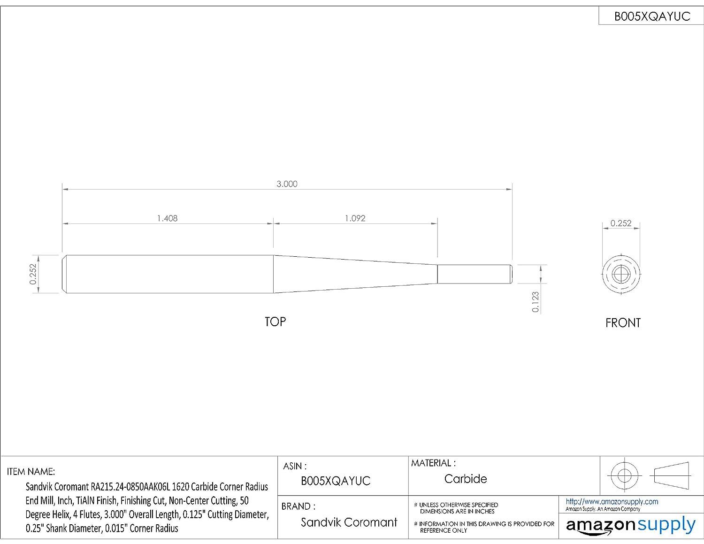 TiAlN Monolayer Finish Finishing Cut 0.312 Cutting Diameter 6 Flutes Non-Center Cutting 50 Deg Helix 0.375 Shank Diameter 3.500 Overall Length Sandvik Coromant RA215.26 Carbide Corner Radius End Mill 0.015 Corner Radius