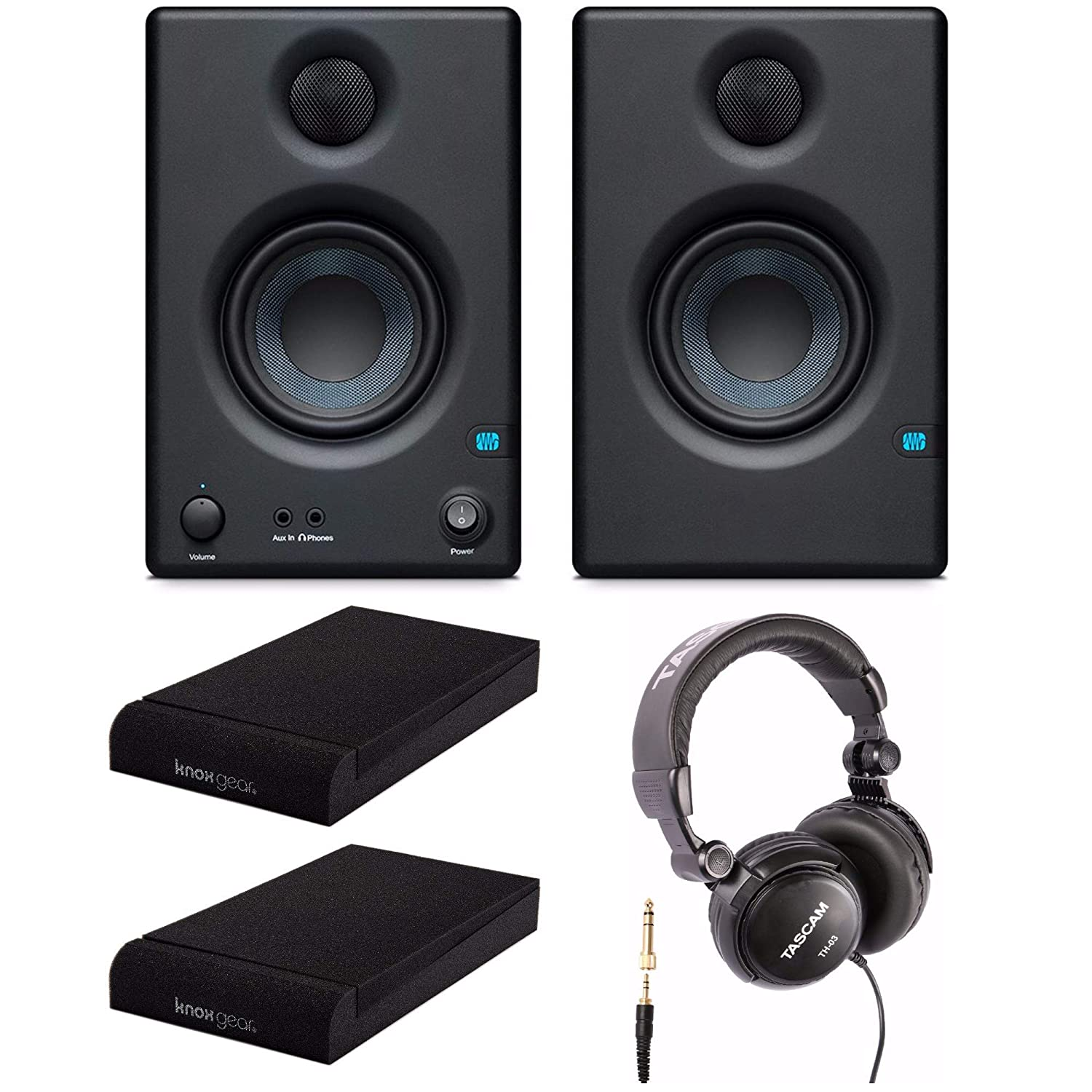 Presonus Eris-E3.5 Near Field Studio Monitor with Knox Gear Isolation Pads and Full-Sized Headphones