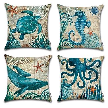 ONWAY Ocean Park Cotton Linen Theme Decorative Pillow Cover Case 18  X 18  Square Shape-Ocean-Beach-sea-Print-Starfish-Seahorse-Voyage, 4 Pack (Sea 1)