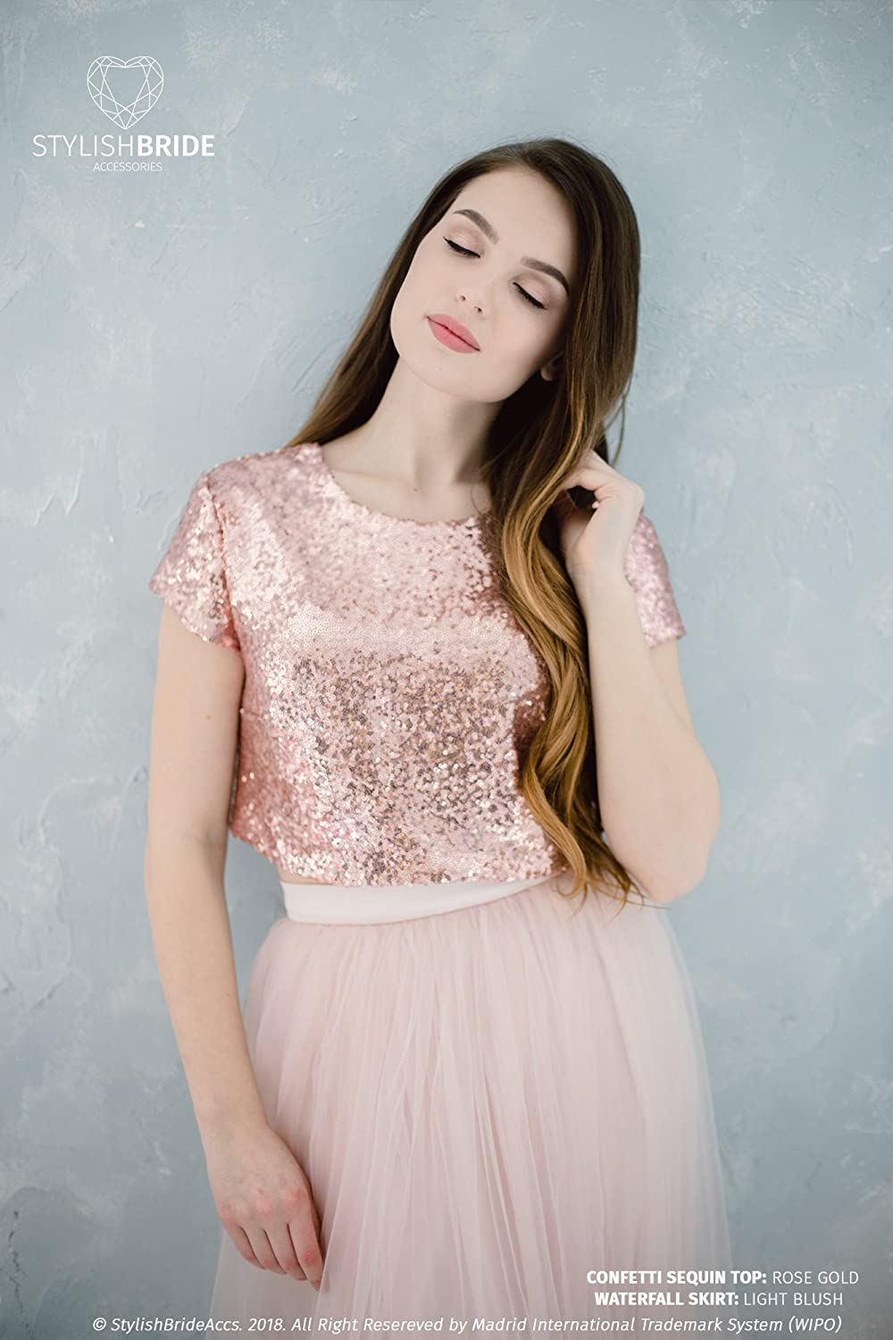 Rose Gold Sequin top, Prom Rose Gold party crop top, Rose Gold engagement sequined top, Bridesmaids Rose Gold blouse plus size