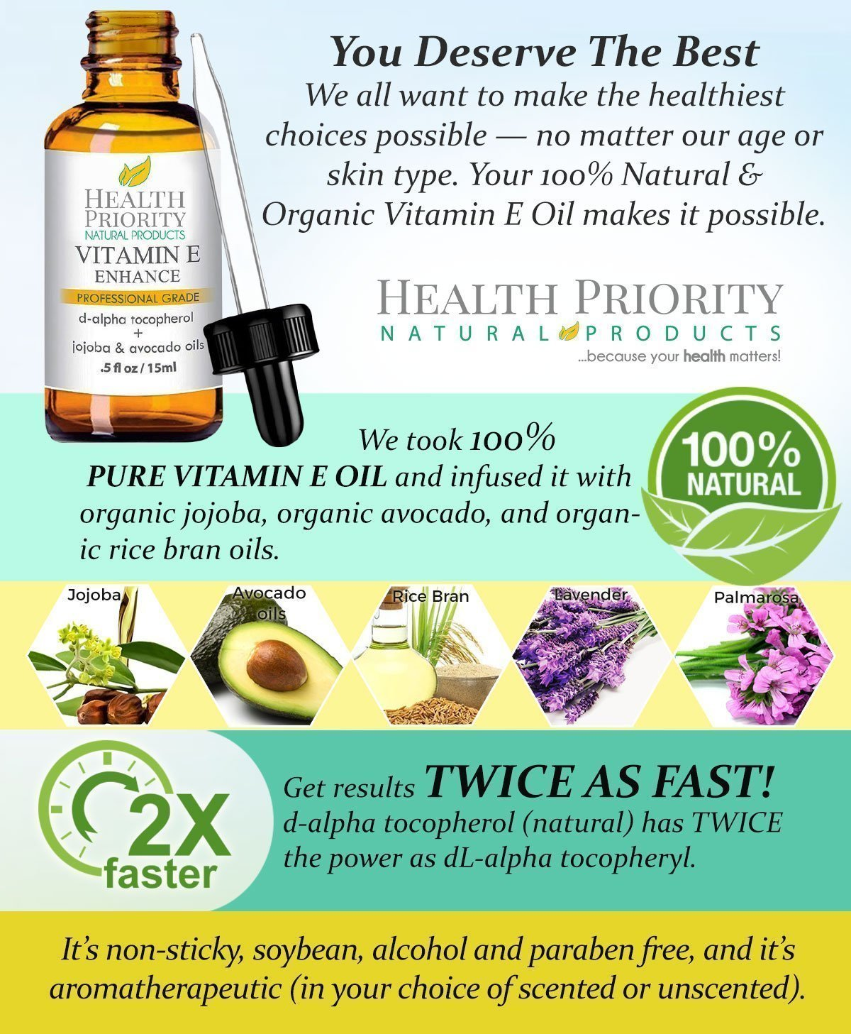 100% All Natural & Organic Vitamin E Oil For Your Face & Skin - 15,000/30,000 IU - Reduces Wrinkles, Lightens Dark Spots, Heals Stretch Marks & Surgical Scars. Best Treatment for Hair, Nails, Lips by Health Priority Natural Products (Image #5)