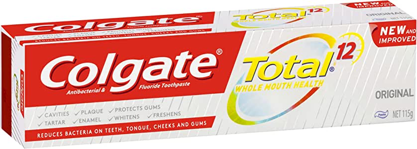 Colgate Total Original Antibacterial Fluoride Toothpaste New and Improved, 115 grams
