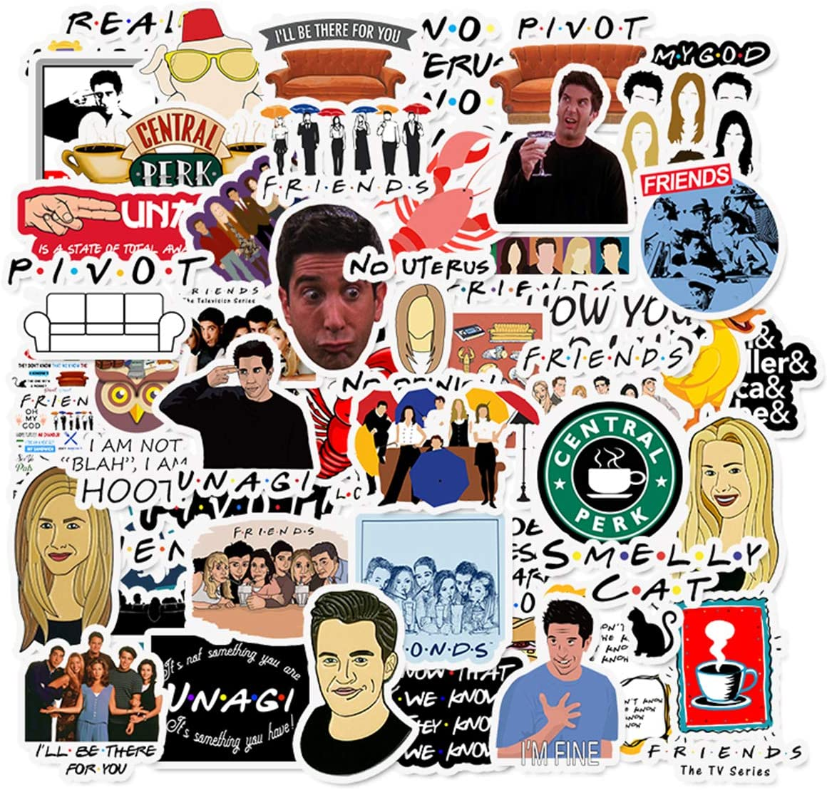 50pcs Friends TV Show Theme Stickers Laptop Stickers Computer Vinyl Sticker Waterproof Bike Skateboard Luggage Decal Graffiti Patches Decal (Friends)