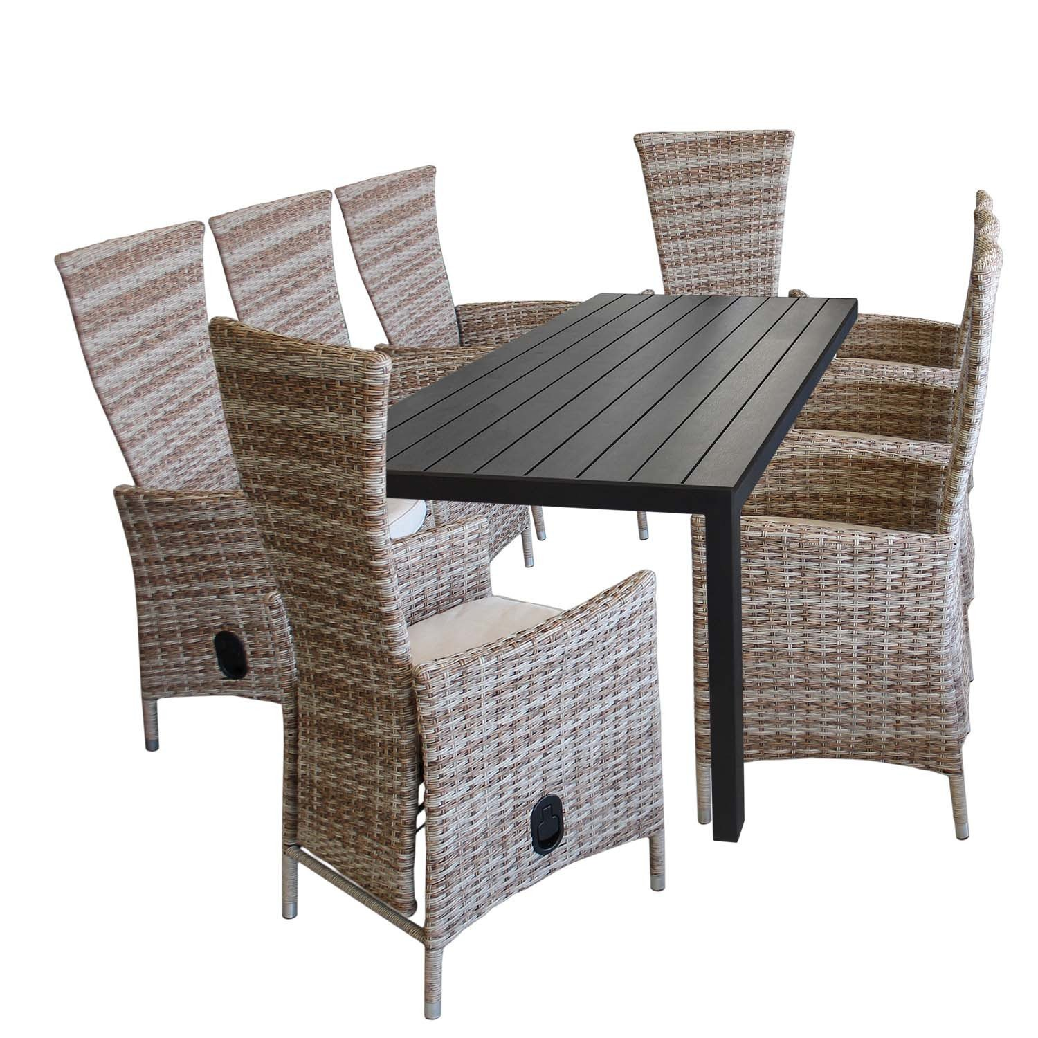 9tlg gartenm bel set aluminium polywood gartentisch 205x90cm 8x gartensessel polyrattan. Black Bedroom Furniture Sets. Home Design Ideas