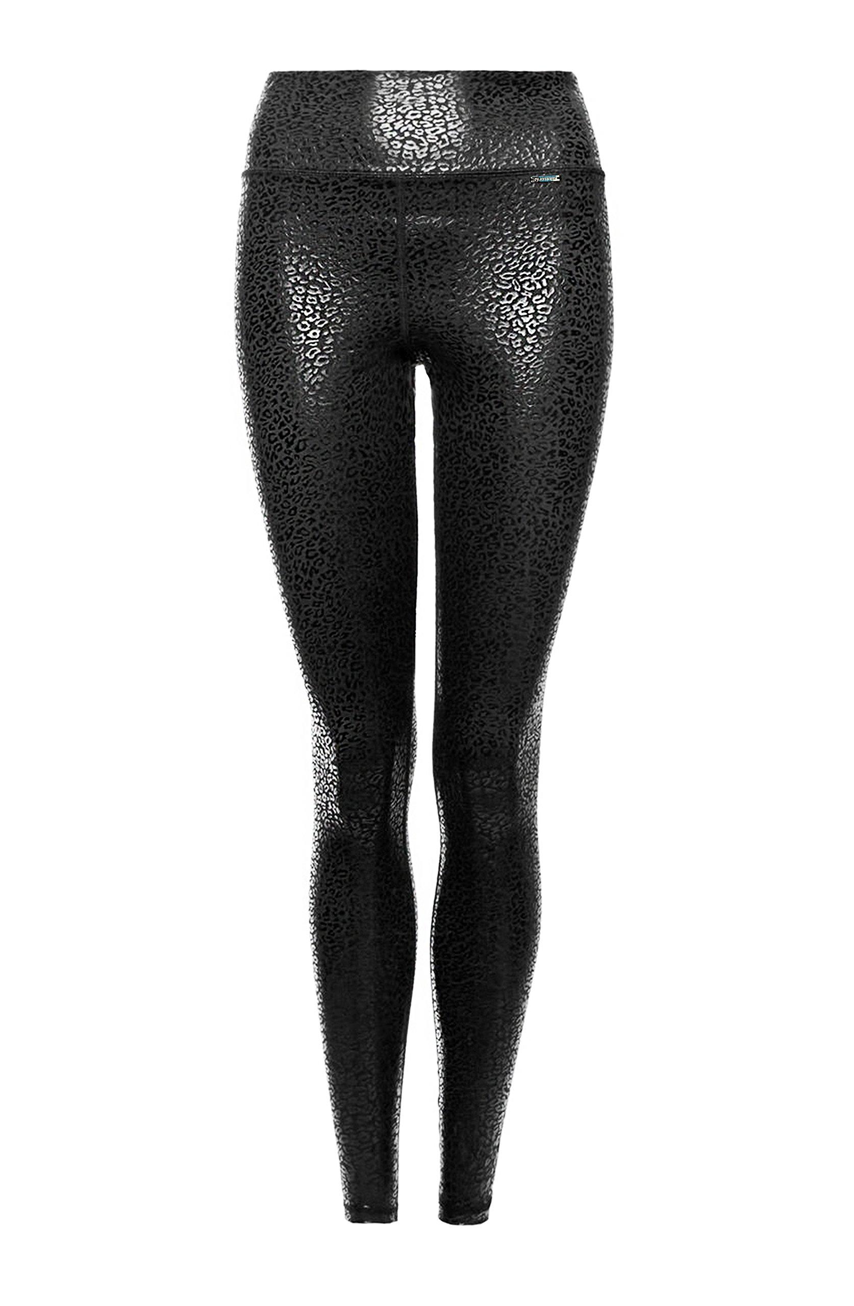 Platinum Sun Leopard Print Compression Womens Athletic Leggings Black - XL by Platinum Sun