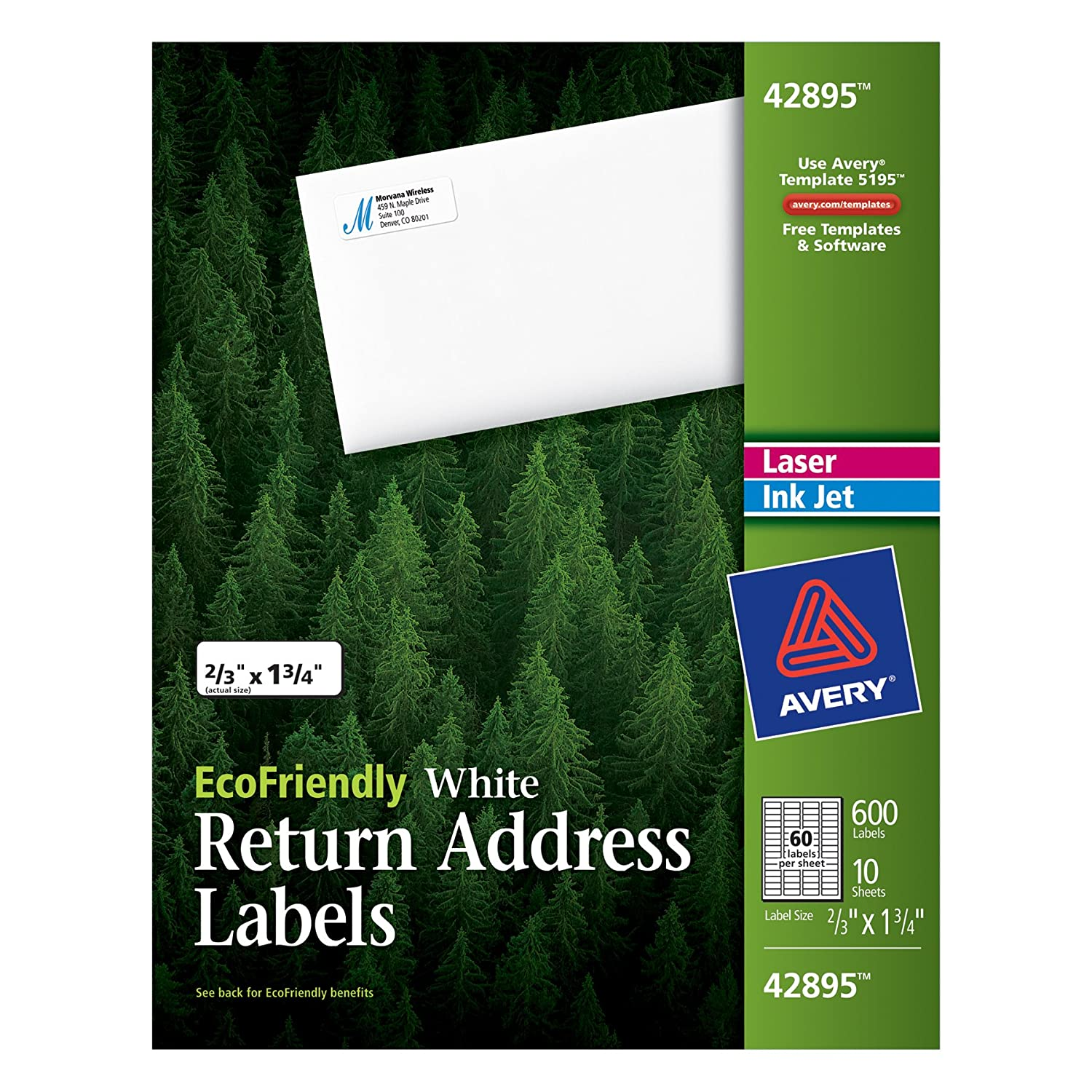 8195 template - Amazon Com Avery Return Address Labels White 0 66 X 1 75 Inches Pack Of 600 42895 All Purpose Labels Office Products
