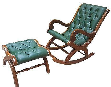 Pleasant Tayyaba Enterprises Sheesham Wooden Cushion Rocking Chair With Stool Squirreltailoven Fun Painted Chair Ideas Images Squirreltailovenorg
