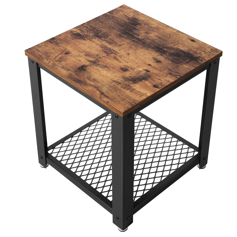 SONGMICS Tavolino da Caffè Comodino per Divano Gambe in Metallo Stile di Vintage e Vissuto per Soggiorno Camera da Letto Cucina LET41X