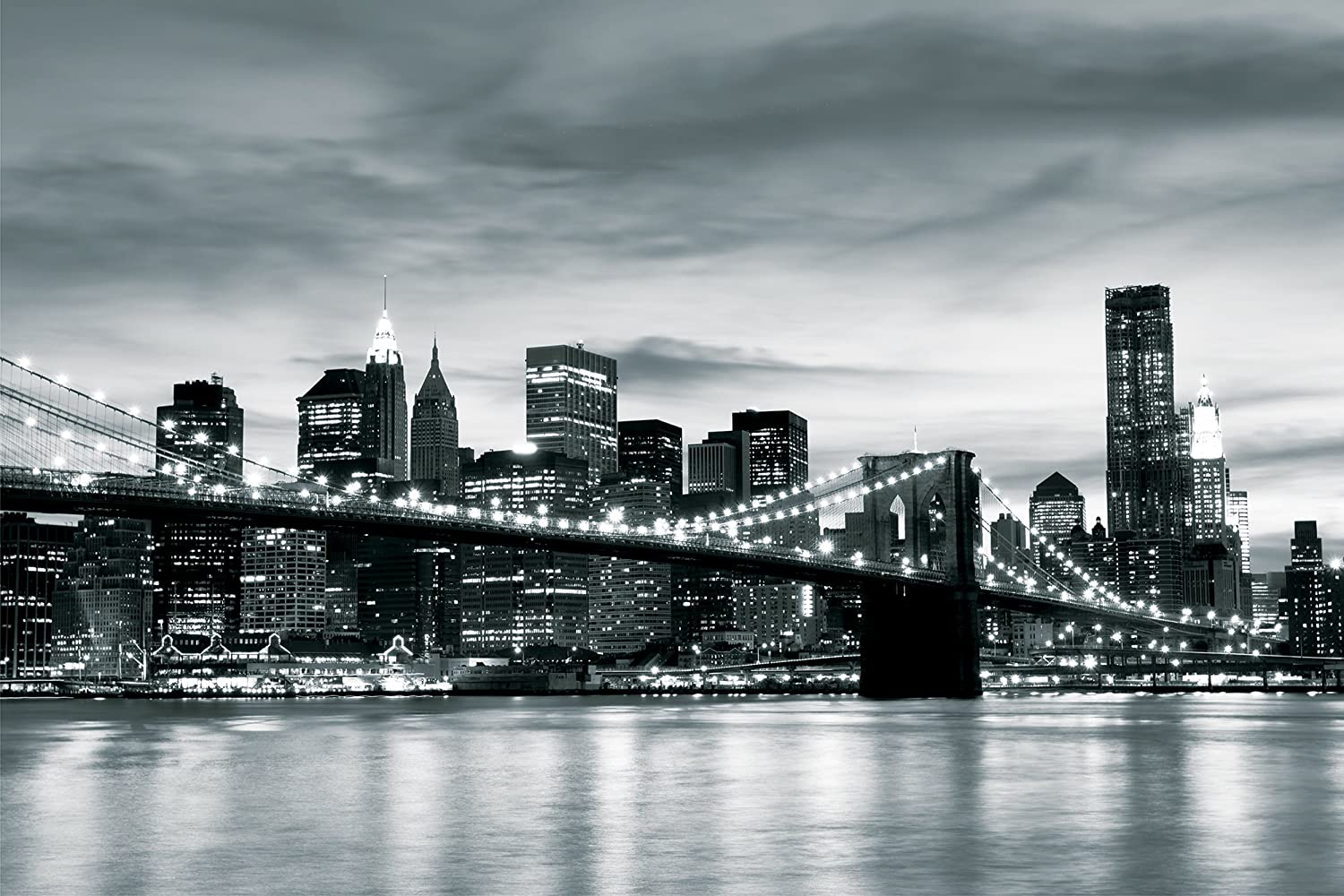 Brooklyn Bridge New York Black White Contrast Wallpaper Mural
