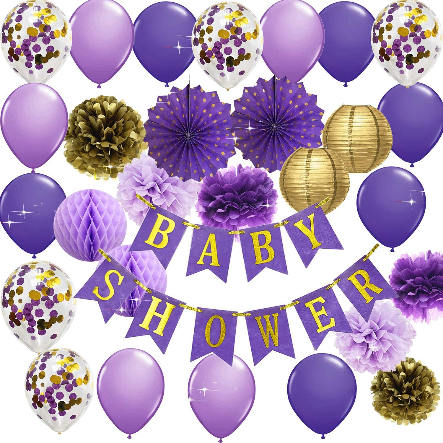 Qian's Party Purple Gold Baby Shower Decorations Purple Gold Princess Party Decorations Purple Princess Baby Shower Confetti Purple Gold Polka Dot Fan Party Decor