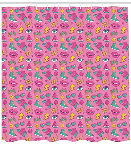 Ambesonne Emoji Shower Curtain Retro Style Comic Book Icons Pattern On Pink Backdrop Girlish Pop