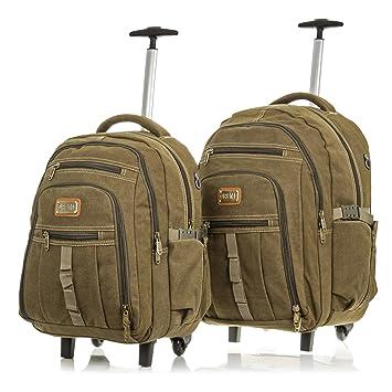 Set 2 mochilas maletas lona canvas premium.Maletas viaje multifuncional.Convertible mochila