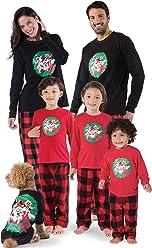 PajamaGram Looney Tunes Fleece Matching Family Pajamas, Red/Black