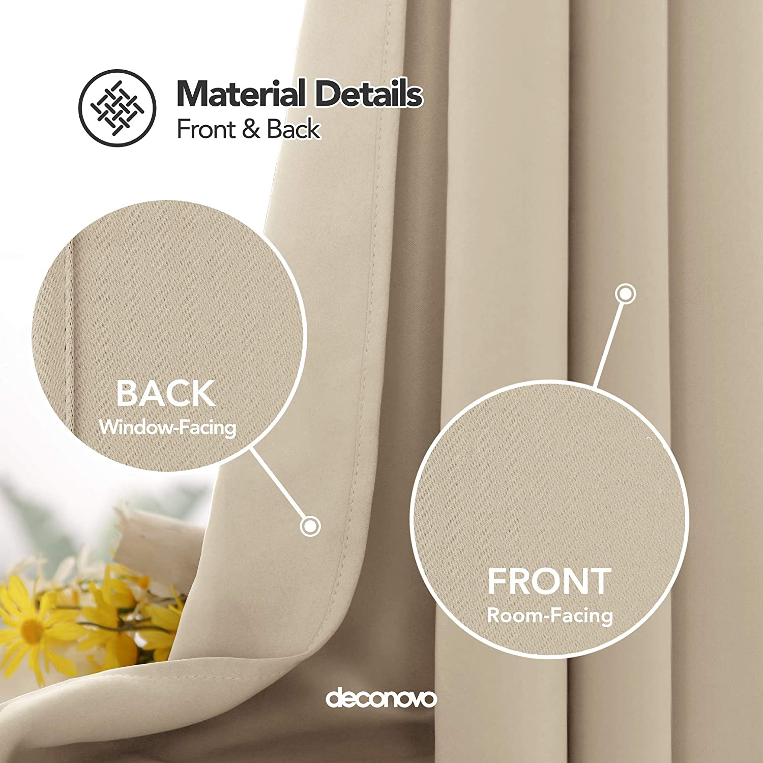 Deconovo Thermal Insulated Blackout Curtain Fabric Ring Top Eyelet Curtain for Bedroom Windows 52x 54 Baby Pink 1 PANEL