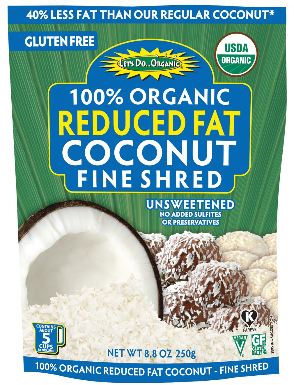 Let's Do Organic Reduced Fat Shredded Coconut, 8.8 ounce pouches (Pack of 12)